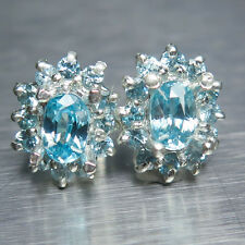 1.60cts Natural Paraiba blue Zircon Sterling 925 Silver stud earrings 12.40x10mm