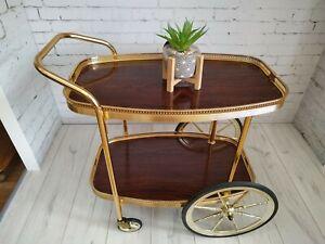 Vintage Italian Style Drinks Trolley  2 Tier Wood Effect Trays Tea Bar Cart Deco
