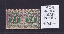 "Nsw: 1 Pound Stamp Duty ""Swine"" 1929 In A Rare Pair!"