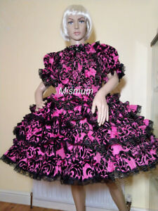 Sissy Pink and Black Taffeta Flock 4 Frill Dress