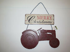 Merry Christmas Farm Tractor Wall Hanging