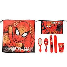 Marvel SPIDER-MAN 5pc Child Health - Towel, Cup, Toothbrush Cover, Brush, Bag