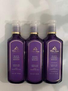 3 Bath & Body Works White Barn Black Cherry Merlot Gentle Gel Hand Soap 8 FL OZ