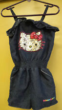 Hello Kitty Denim One-Piece Sequin Outfit, Embellished Shortalls, Size 2T