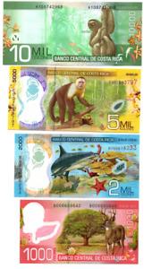 Set billetes de Costa Rica 1000, 2000, 5000 y 10000 colones