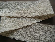 Old vtg Valenciennes Lace trim  emb/red mesh needle run gimp on any designs