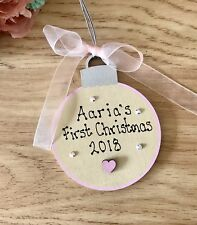 Personalised Wooden Baby's First Christmas Bauble Shabby Chic Keepsake Gift