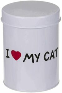 WHITE ENAMEL I LOVE MY CAT ROUND METAL STORAGE TREATS TIN CONTAINER JAR
