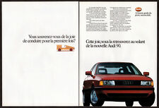 1988 AUDI 90 Vintage Original 2 page Print AD Red car first drive French Canada