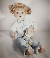 Marie Osmond Porcelain Collectible Doll W/Bracelet  Buttons Bows Blue, In BOX
