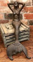"Mermaid Cast Iron Brown-Tone 18"" Long Sitting Nautical Statue"
