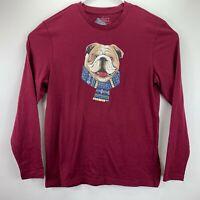 Club Room Mens Christmas Bulldog Crewneck Long Sleeve T-Shirt Dark Red 2XL