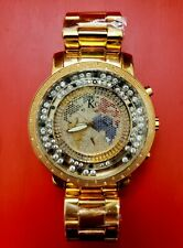KC Watches Diamond Timepieces 55mm World Map Stainless Steel Techno Com by KC