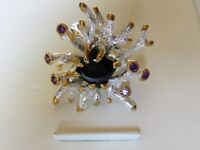 Sterling Silver 925 One of a Kind Ring Black Spinel and Amethyst S7