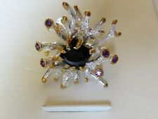 Sterling Silver 925 Starburst Ring Black Spinel and Amethyst S7