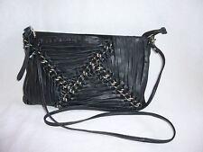 TopShop Real Leather Unique Weave Black Silver Chain Purse Handbag Tote X Body