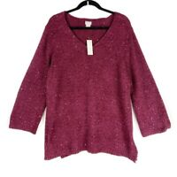 Chicos Womens Shine Pullover Sweater Red Long Sleeve V Neck Sequin XL 3 New