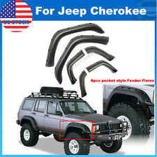 "90-01 JEEP CHEROKEE XJ 5"" POCKET RIVET STYLE FENDER FLARES 6PCS WHEEL COVER ABS"