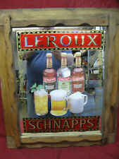 New listing Large Leroux Schnapps Graphic Mirrored Bar Sign In Rustic Wood Frame