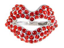 Lipstick Flame Red Rouge Kiss Me Smooch Stylish Rhinestone Lip Ring Finger Band