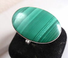 Malachite Ring Large Flat Oval Beautiful Marks 925 Sterling Silver Ring Size 6.5