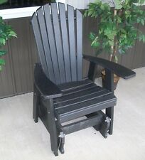 Poly 2 Ft Single ADIRONDACK GLIDER CHAIR *BLACK COLOR*  SINGLE GLIDER Amish Made