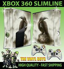 XBOX 360 SLIM STICKER GHOST RAVEN DARK GOTHIC REAPER OMEN SKIN & 2 X PAD SKIN