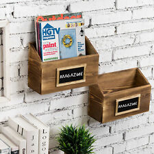 MyGift Set of 2 Burnt Wood Wall Mounted Mail Sorter Racks with Chalkboard Labels