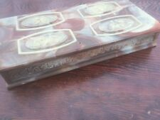 Vintage Incolay Stone Large Brown Cameo Design Jewelry Box Made in the USA