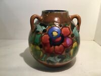 Japanese Awaji Pottery 3 Handle Art Deco Floral Vase Sanpei Flag 1922-39