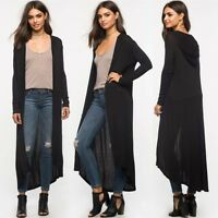 Women Long Maxi Cardigan Loose Sweater Knitted Hoodie Tops Outwear Jacket Coat