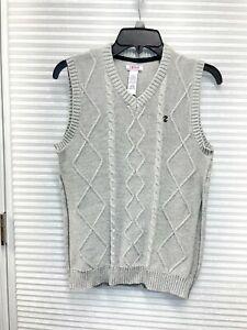 IZOD Junior Boys Pullover V-Neck Sleeveless Cable Knit Sweater Vest Size L 14/16