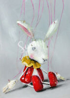 """ACEO """"RABBIT"""" bunny marionette puppet toy outsider art Print orig oil painting"""