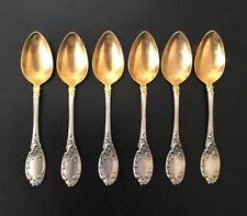 6 antike 800er Silber Löffel teilweise vergoldet