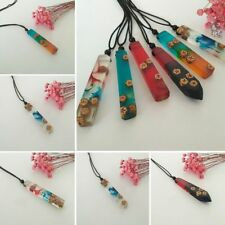Colored Wood Resin Rope Pendants  Chain Punk Statement Unisex Necklaces Jewelry