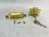 Vintage NL Inc Cabinet Desk Drawer Brass Lock with 2 Keys & Pull