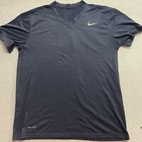 Nike Dri Fit The Tee Navy V Neck Size Large Women's Athletic Top Polyester