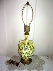 Antique Chinese Porcelain Imperial Yellow Floral Handled Lamp with Ormolu Base