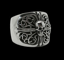 Sterling Silver skull Ring All Sizes Inspired by Chrome Hearts Oval Cross Biker