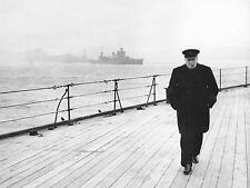 ART PRINT POSTER VINTAGE PHOTO WAR WWII WINSTON CHURCHILL DECK SHIP UK NOFL0478