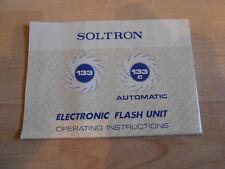 SOLTRON 133 133C automatico, elettronica flash Unità funzionamento INSTRUCTIONS