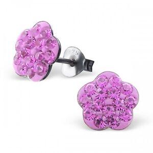 Girls Ladies Sterling Silver Light Amethyst Crystal Flower Stud Earrings Boxed