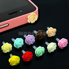 Hot 10x Plastic Flower Cap Dock For Apple iPhone Anti Dust Plug Stopper 3.5mm