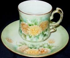Vintage Mustache Cup & Saucer Gold Trim Floral Ornate Handle Flowers Leaves