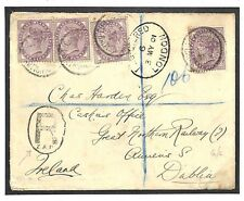 EE78 1901 GB London Ireland Dublin Registered Cover {samwells-covers}PTS