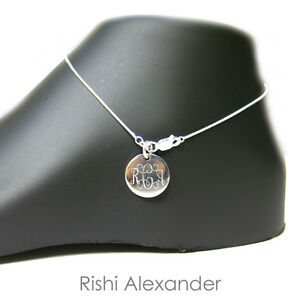 925 Sterling Silver Diamond Cut Snake Monogram Personalized Anklet