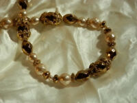 Vintage 1980's Gold Tone Beaded Faux Pearl Necklace - FAB WOW  246D8