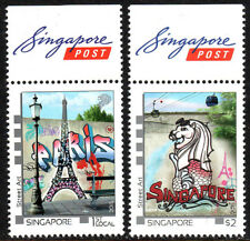 Singapore 1727-1728, MNH. Street Art.Eiffel Tower,Merlion,aerial cable cars,2015