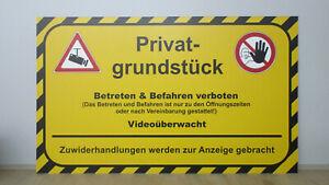 Schild 4mm PVC Privatgrundstück Betreten Verboten Videoüberwacht 20x30cm