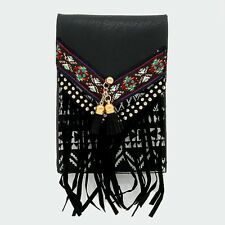 CELL PHONE CASE Faux suede fringe double tassel smart cell pouch cross body